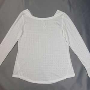 White Geometric Sheer Active Pullover Top  1X